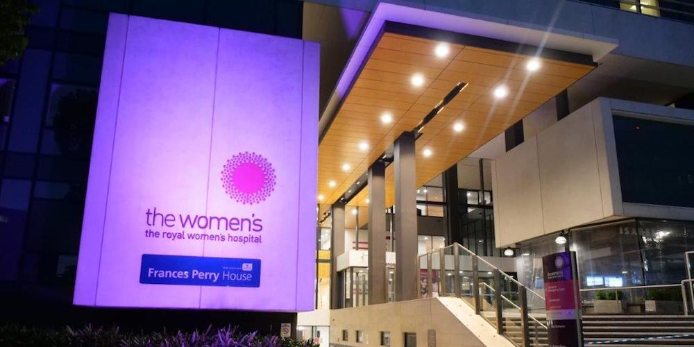 The Women's front entrance lit up