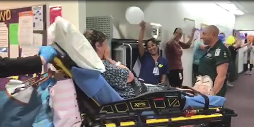 Yvonne leaving the ward