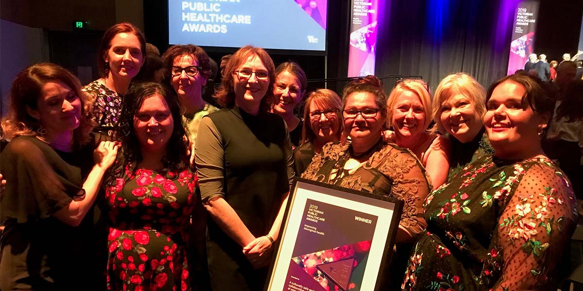 Members of the collaborative with the Victorian Public Healthcare Award for Improving Aboriginal health