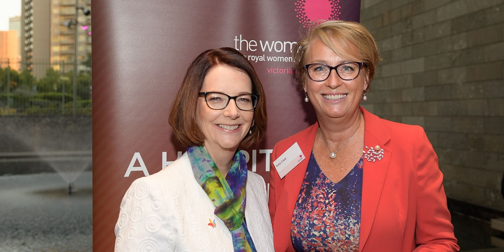 Former PM Julia Gillard with Lord Mayoral candidate and Property Council Executive Director Sally Capp