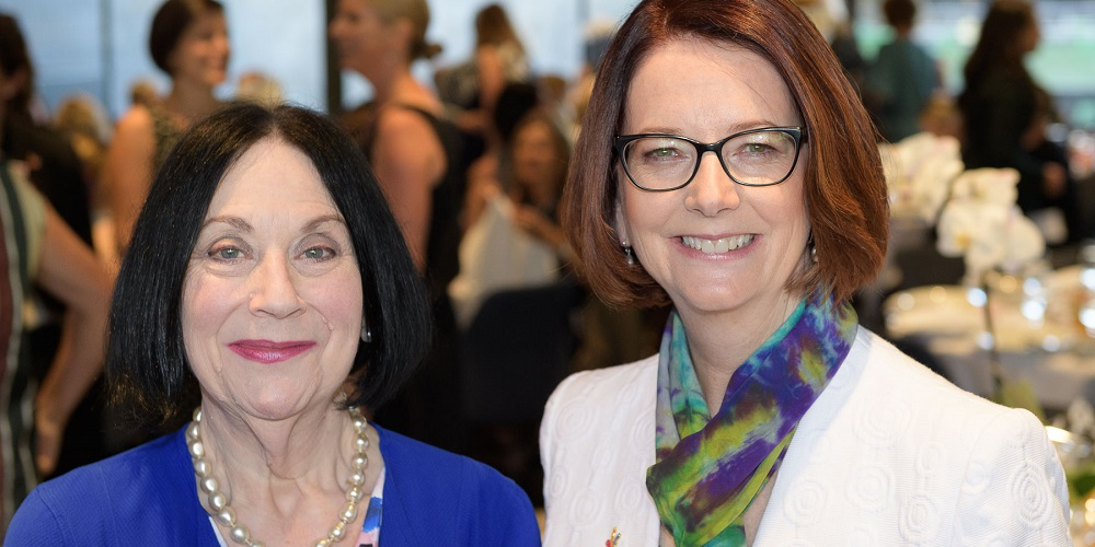 Former PM and current Chair of Beyond Blue Julia Gillard with Prof Louise Newman from the Women's Centre for Women's Mental Health