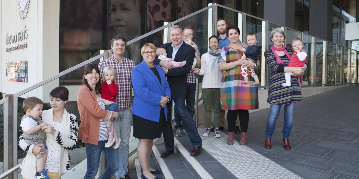 Health Minister David Davis, Sue Matthews and families