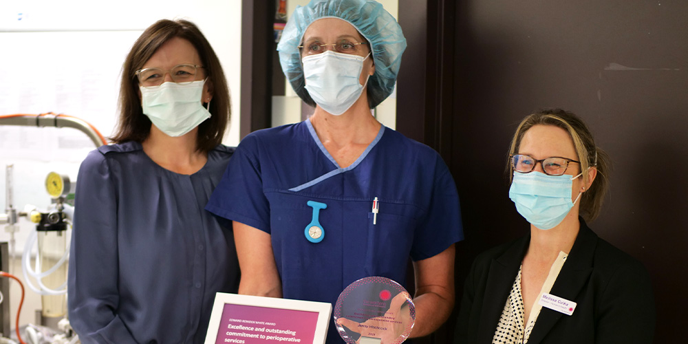 """""""Nursing with the Theatre Team is a varied role that provides challenge and ongoing learning opportunities. Witnessing the parents' joy as their beautiful babies arrive is one of the best parts of my job."""" – Jenny Hitchcock, recipient of the Edward Rowden White Award"""