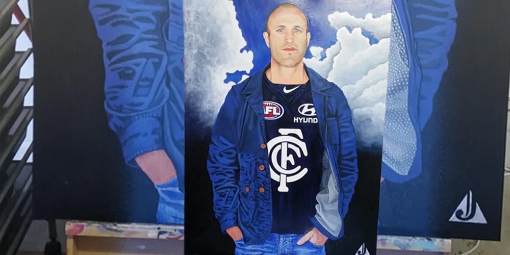 Artist J Michael Allery's portrait of Chris Judd.