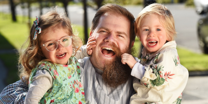 Radford White's three-year-old twins Maisie and Rupert loved their dad's bushy beard. Picture: Rob Leeson, Herald Sun