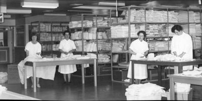 Early 1970s, linen prepared in the Central Supply Department